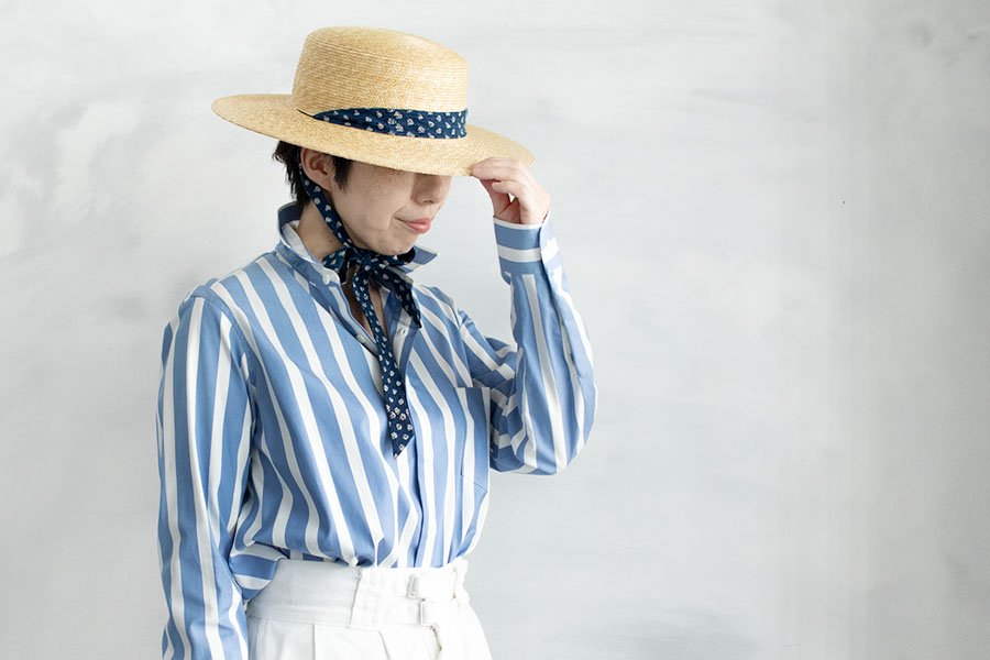 semoh ストライプシャツ BLUE