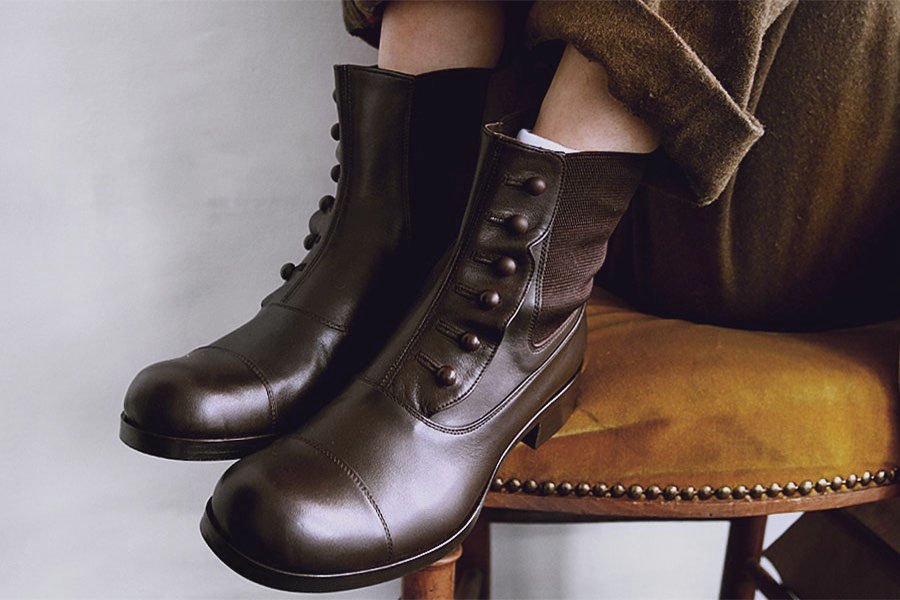 BEAUTIFUL SHOES BUTTONED SIDEGORE BOOTS DARK BROWN