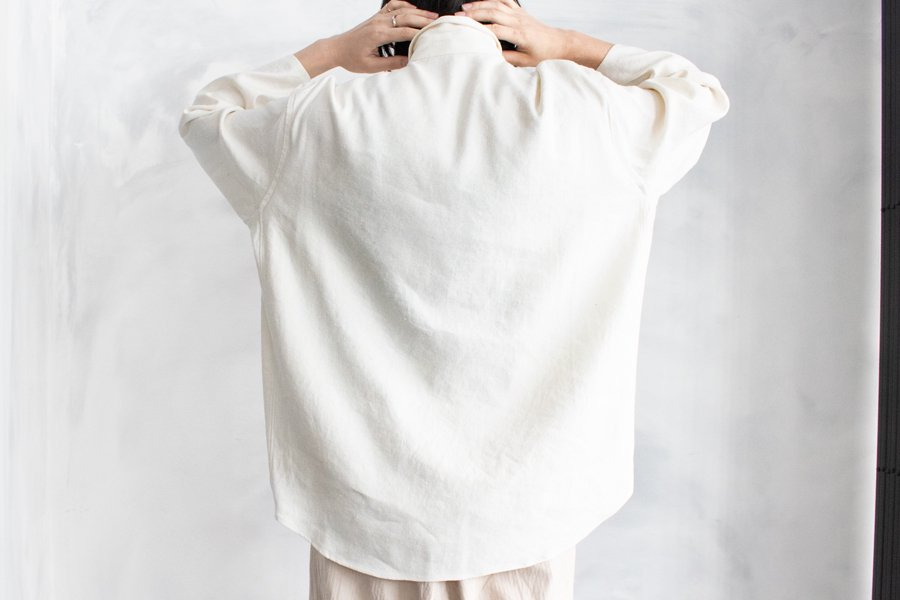 semoh シルクリネンワイドシャツ WHITE