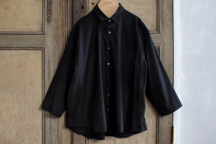 semoh シルクリネンワイドシャツ BLACK