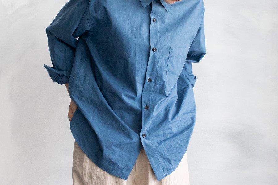WIRROW レギュラーカラーシャツ DUSTYBLUE