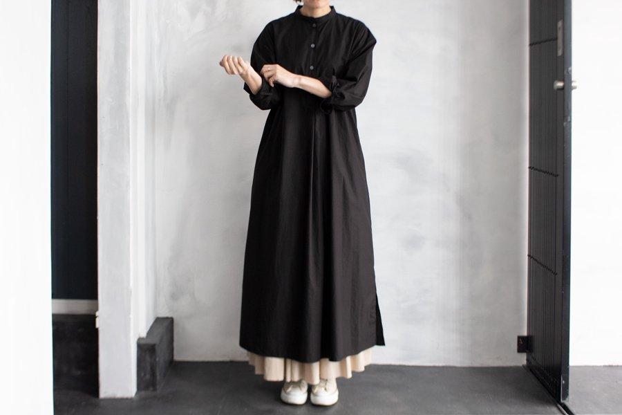WIRROW スタンドカラーシャツドレス BLACK