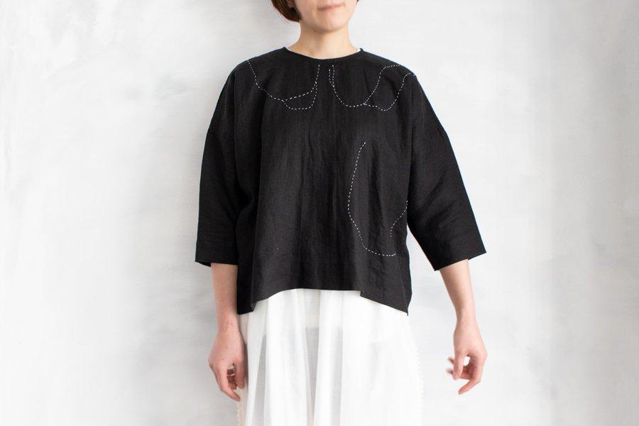 TOWAVASE 「Peinture」シャツ BLACK(WHITE ST)