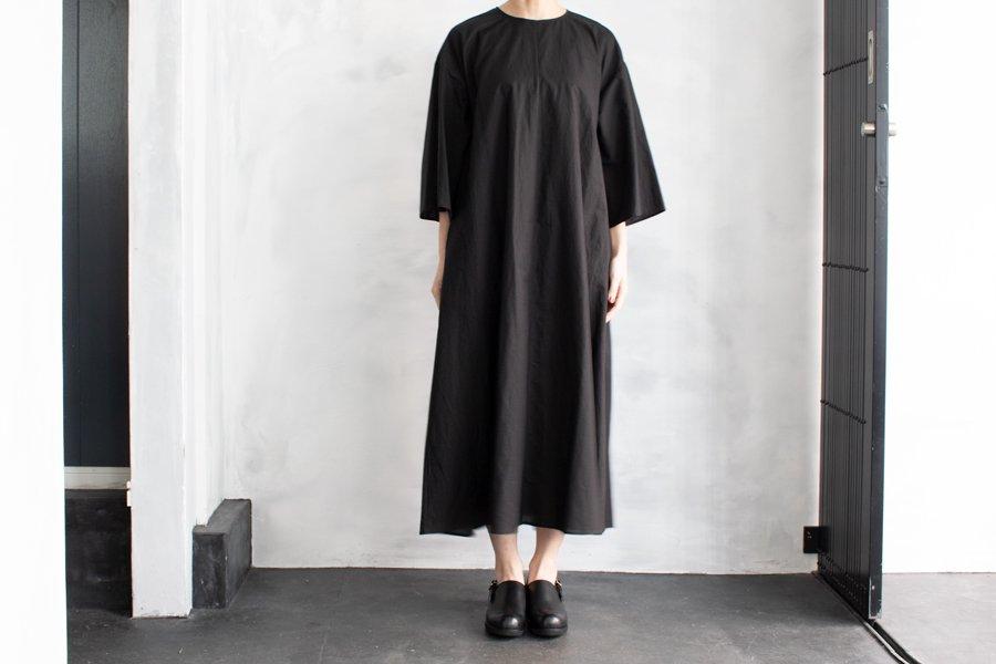 WIRROW コットンリネン チュニックドレス BLACK