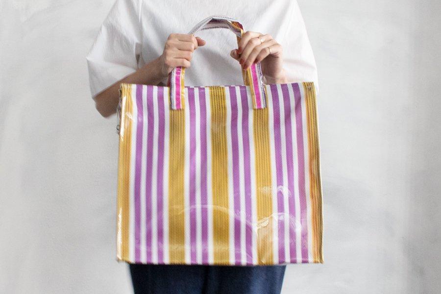 INDIA MARKET BAG PVC マルチタイプ PURPLE×YELLOW