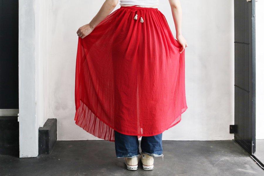 Tabrik プリーツ巻きスカート RED