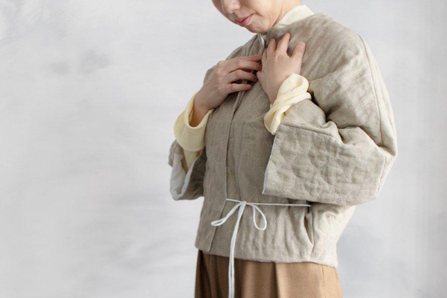 TOWAVASE  リネン刺繍キルトジャケット BEIGE