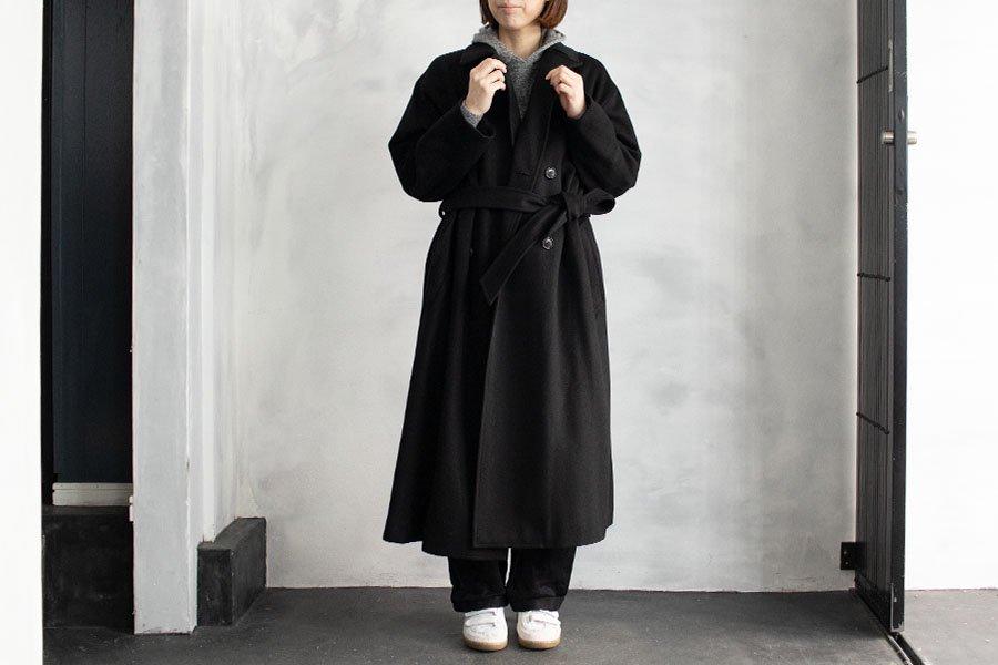 WIRROW ダブルブレストオーバーコート BLACK