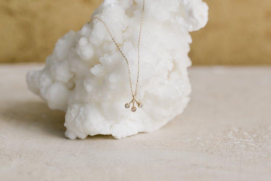 Twinkle 3クラスターダイヤモンドネックレス