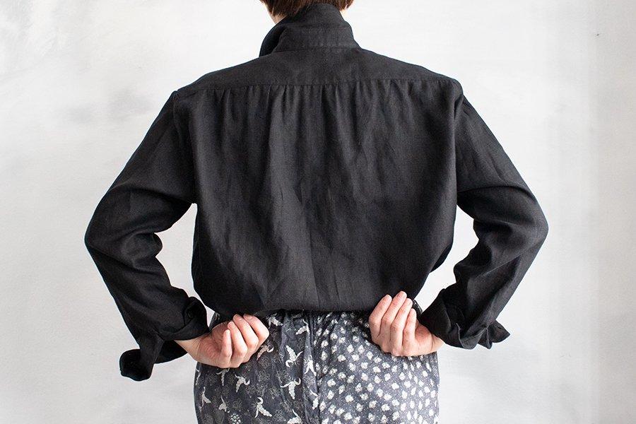 semoh リネンギャザーヨークシャツ BLACK