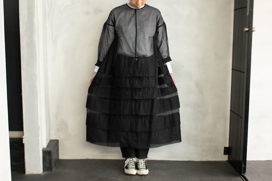 Tabrik コットンシルクタックドレス BLACK