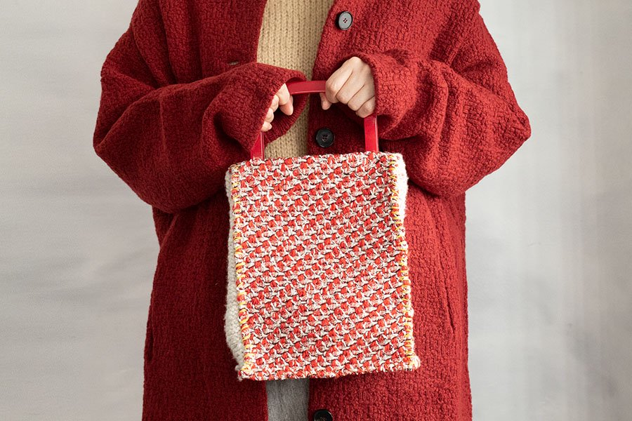 DOIGT スクエアハンドルバッグ RED TWEED