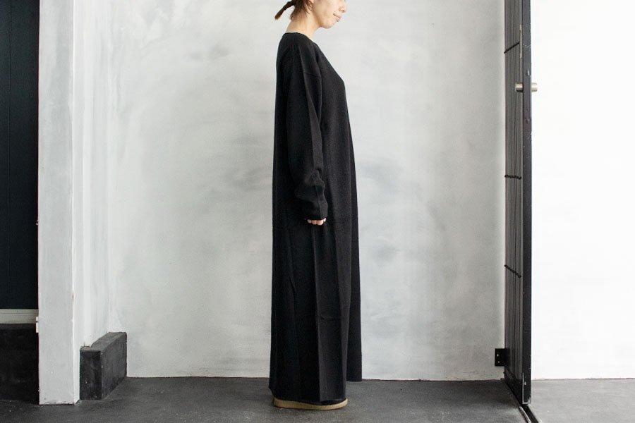 WIRROW  ボートネックニットドレス BLACK