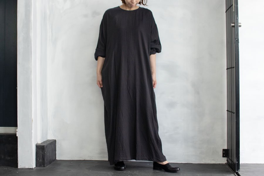 WIRROW  キュプラコットン クルーネックドレス BLACK