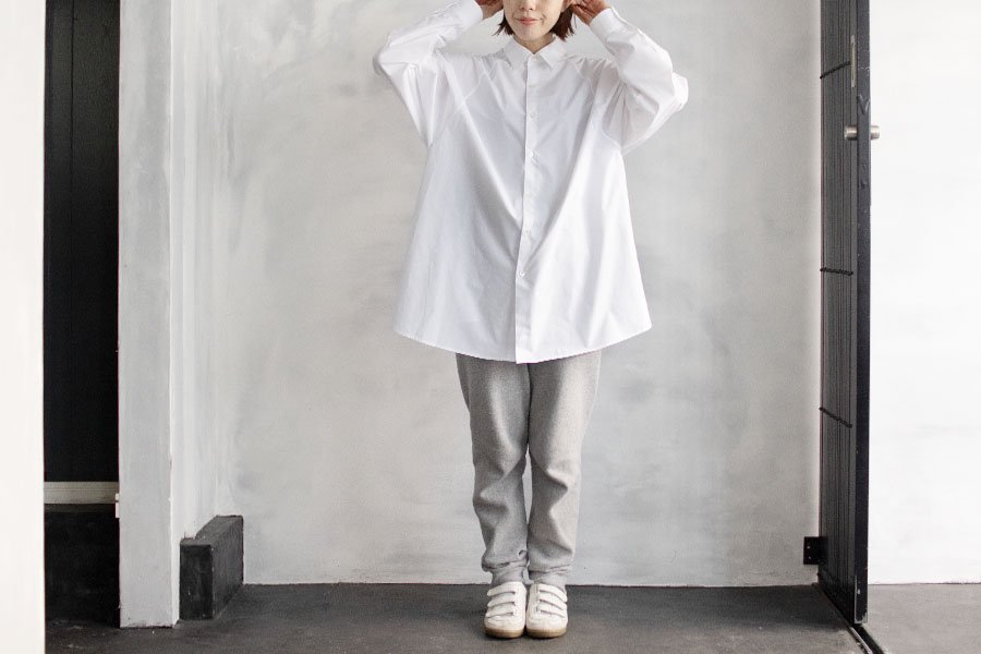 semoh ラグランスリーブロングシャツ WHITE