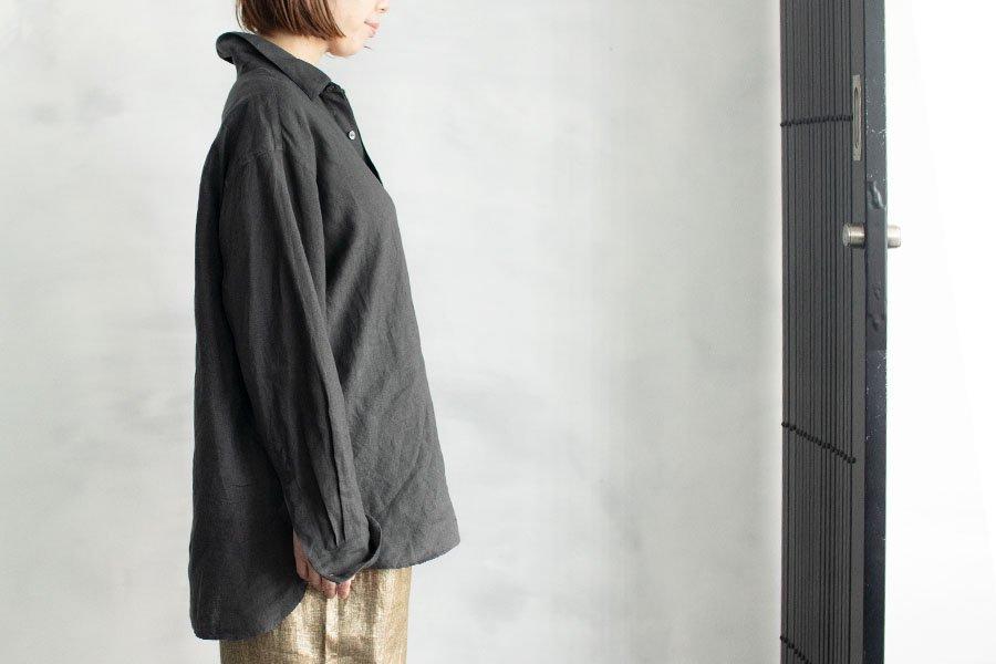 WIRROW  リネンレギュラーカラーシャツ DARK GRAY