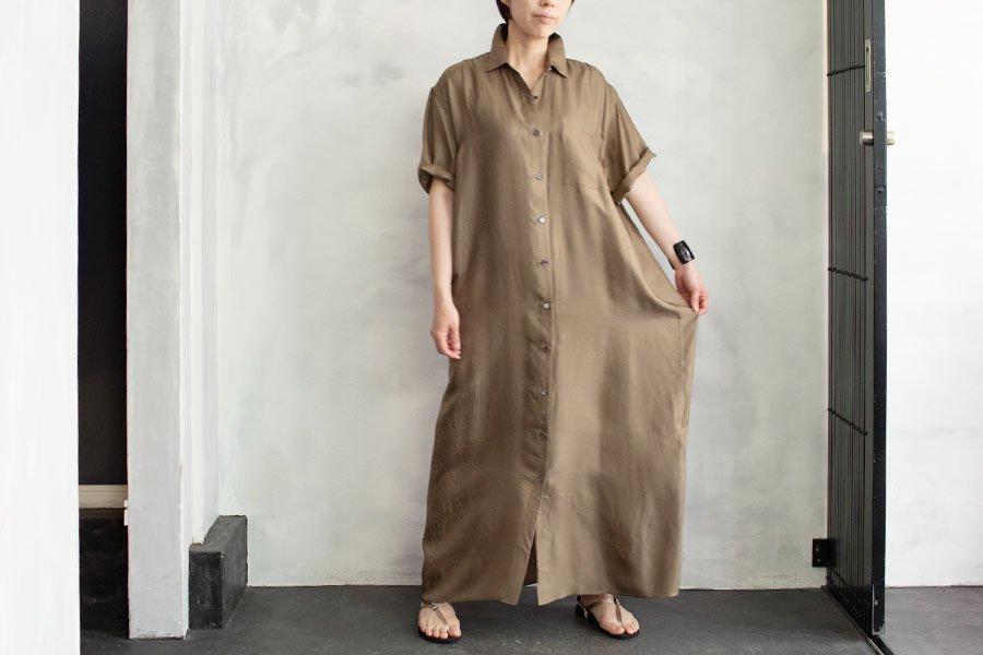 WIRROW シルクハーフスリーブシャツドレス BEIGE