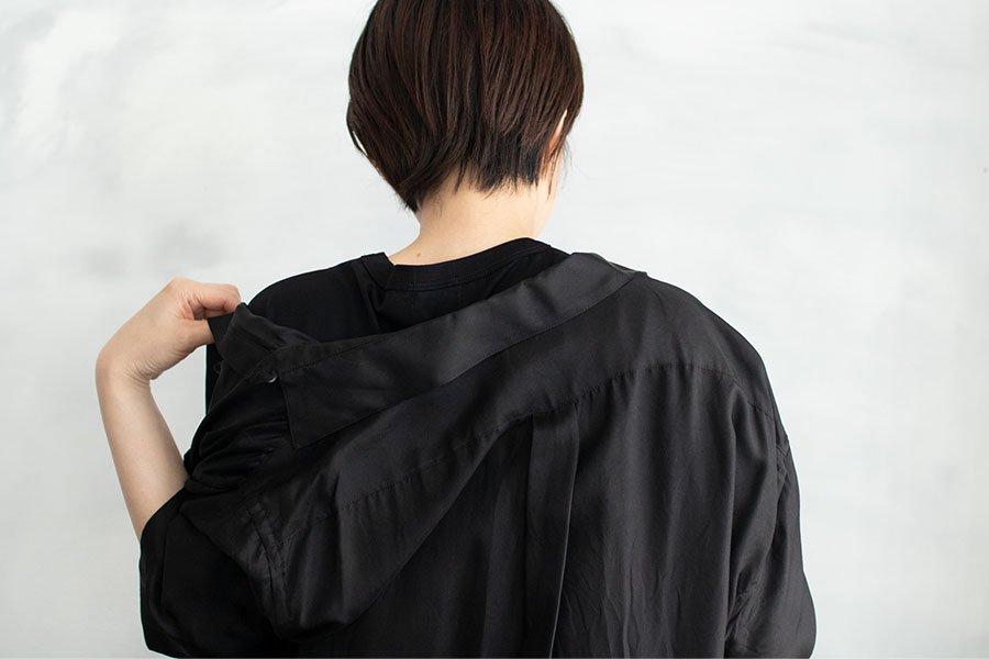 WIRROW シルクハーフスリーブシャツドレス BLACK