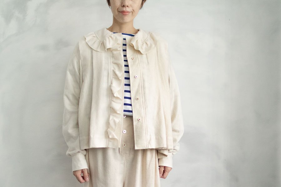 TOWAVASE 「India cotton flannel」フリルブラウス WHITE