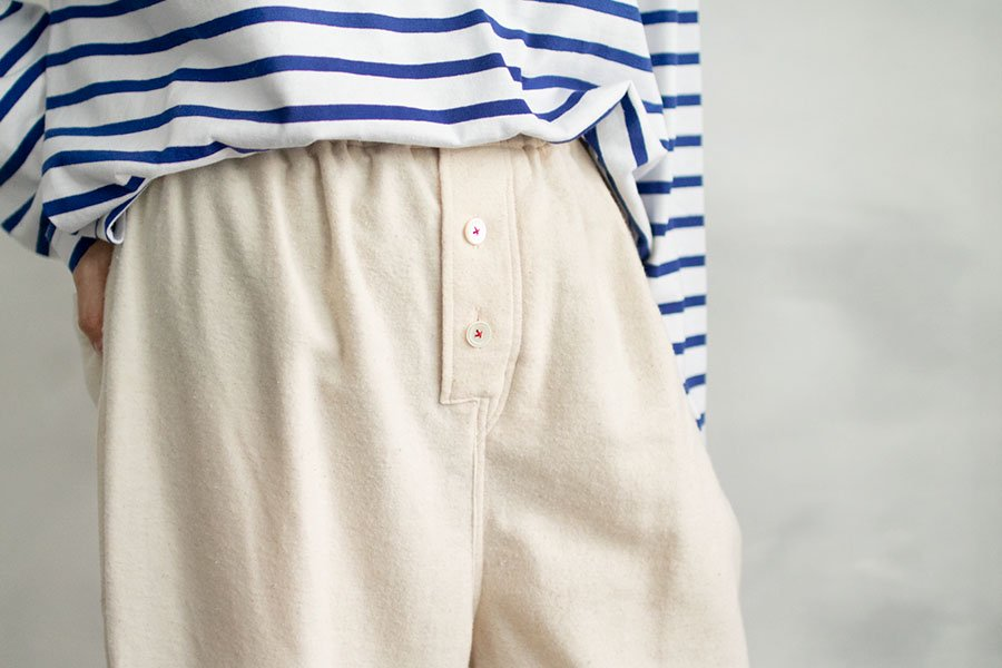 TOWAVASE 「India cotton flannel」パンツ WHITE