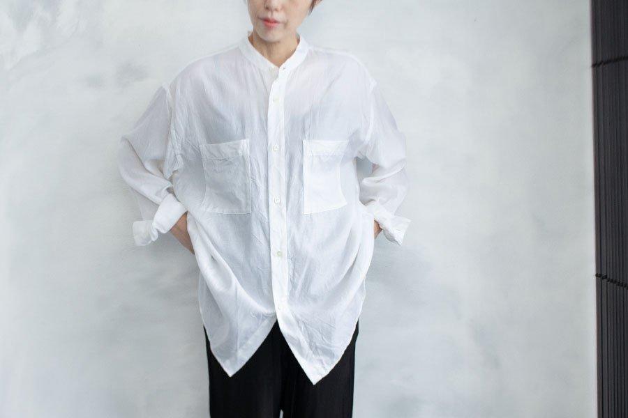 WIRROW キュプラコットン スタンドカラーシャツ WHITE