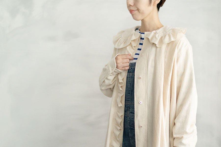TOWAVASE 「India cotton flannel」フリルドレス WHITE