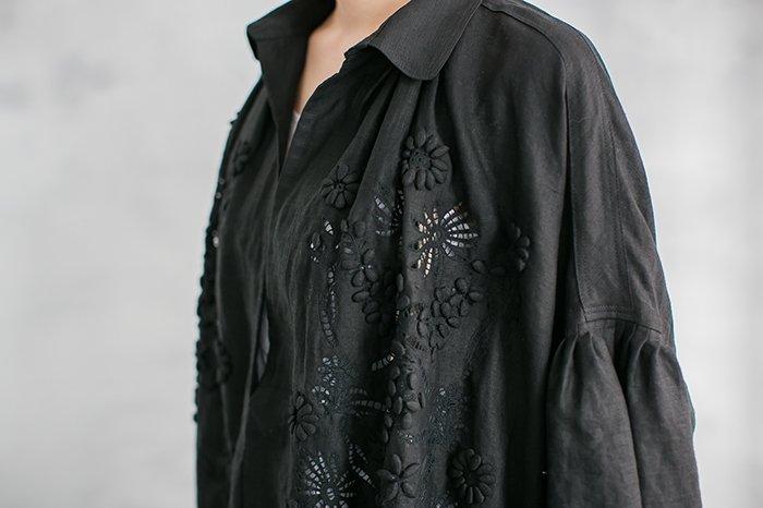 TOWAVASE 刺繍スモックドレス BLACK
