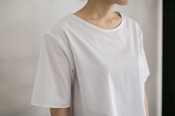 semoh ボートネックシャツ WHITE