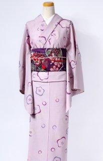 レンタル_K07:薄ピンク地梅柄[F]×紫葵柄文庫帯