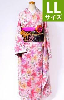 レンタル_KP02:ピンク地百合[LL]×紫地葵柄ふくら雀帯