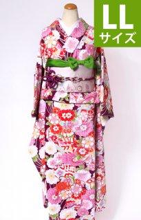 レンタル_KP03:紫地まりに花づくし[LL]×ピンク地菱に萩ふくら雀