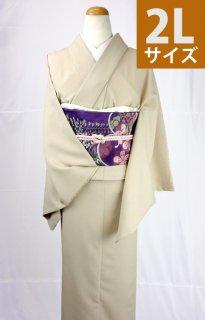 レンタル_K27:ベージュ無地[2L]×葵柄紫太鼓帯(ポリエステル)