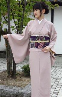 レンタル_K28:ピンク無地[F]×葵柄紫太鼓帯(ポリエステル)