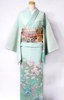 レンタル_K52:グリーン地牡丹に菊[F]×葵柄ベージュ太鼓帯(ポリエステル)