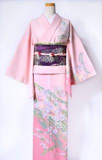 レンタル_K53:ピンク地辻が花[F]×葵柄紫太鼓帯(ポリエステル)