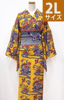 レンタル_K12:黄色紅型[2L]×グレー桐麻柄アレンジ帯