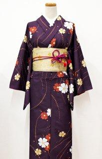 レンタル_K15:濃紫地桜柄[F]×桜三重太鼓帯(半巾帯)