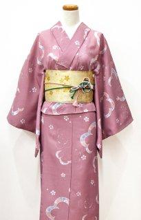 レンタル_K23:ピンク地花柄[F]×桜三重太鼓帯(半巾帯)