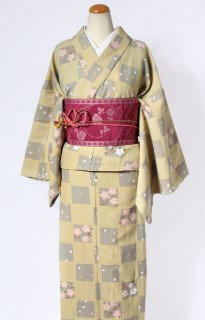 レンタル_K32:黄緑地市松に桜柄[F]×濃ピンク地バラ柄アレンジ帯(半巾帯)