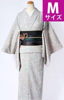 レンタル_K33:グレー地小桜にもみじ柄[M]×縞柄緑グラデーション帯(半巾帯)