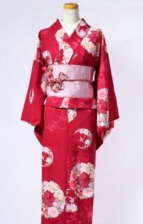レンタル_K36:えんじ地なでしこに花輪柄[F]×ピンク地バラ柄ロマン帯(半巾帯)