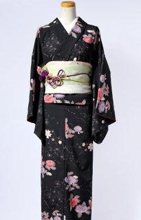 レンタル_K37:黒地菊に花柄[F]×グリーン地草花アレンジ帯