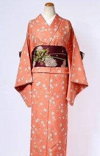 レンタル_K38:オレンジ地小桜柄[F]×エビ茶地桐麻に桜柄アレンジ帯(半巾帯)