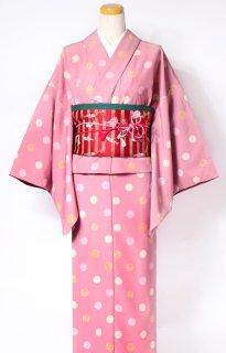 レンタル_K40:ピンク地水玉柄[F]×白猫柄赤アレンジ帯