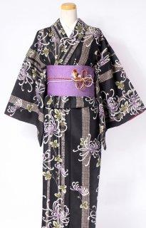 レンタル_K43:黒地糸菊柄[F]×桜柄紫アレンジ帯(半巾帯)