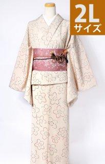 レンタル_K49:ベージュ地桜柄[2L]×桜柄薄ピンクロマン帯(半巾帯)
