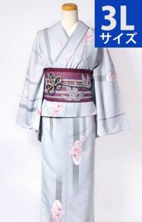 レンタル_K50:グレー地花柄[3L]×笹柄紫アレンジ帯
