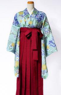 レンタル_KH16:淡いグリーン地牡丹に花[F]×えんじ袴