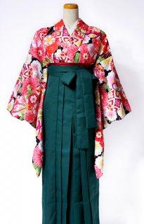 レンタル_KH19:黒地まりに花づくし[F]×グリーン袴