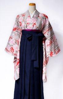 レンタル_KH20:ベージュ地縞に八重桜[F]×濃紺袴
